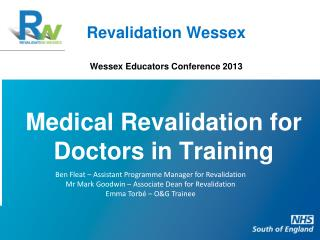 Revalidation Wessex Wessex Educators Conference 2013