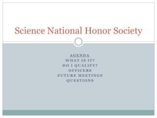 Science National Honor Society