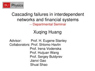 Cascading failures in interdependent networks and financial systems -- Departmental Seminar