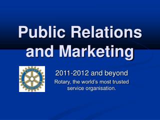 Public Relations and Marketing