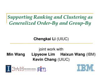 Supporting Ranking and Clustering as Generalized Order-By and Group-By