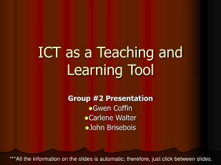 ICT as a Teaching and Learning Tool