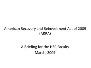 ARRA Briefing Presentation
