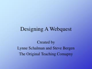 Powerpoint Pr sentation zu WebQuest Design in Englisch