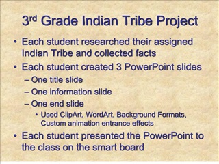 3rd Grade Indian Tribe Project