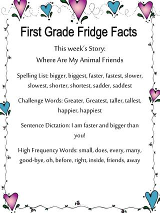 First Grade Fridge Facts