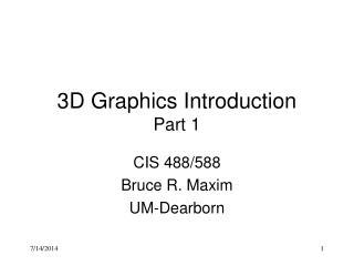 3D Graphics Introduction Part 1
