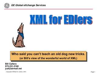 Who said you can't teach an old dog new tricks. (or Bill's view of the wonderful world of XML)