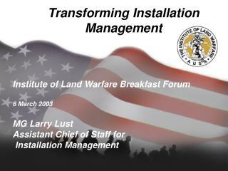 Transforming Installation Management