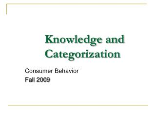 Knowledge and Categorization