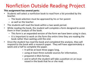 Nonfiction Outside Reading Project