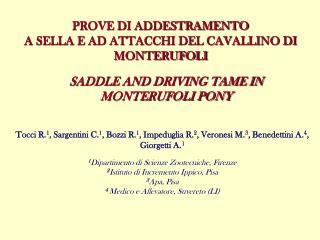 PROVE DI ADDESTRAMENTO  A SELLA E AD ATTACCHI DEL CAVALLINO DI MONTERUFOLI