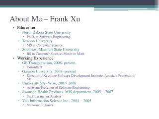About Me – Frank Xu