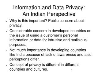 Information and Data Privacy: An Indian Perspective