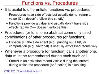 Functions vs. Procedures