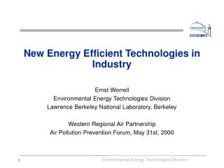 New Energy Efficient Technologies in Industry