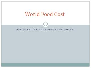 World Food Cost