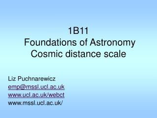 1B11  Foundations of Astronomy Cosmic distance scale