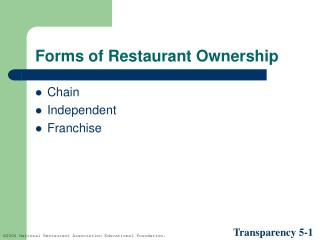 Forms of Restaurant Ownership