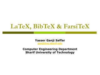 LaTeX, BibTeX & FarsiTeX