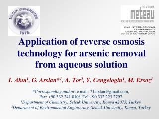 Application of reverse osmosis technology for arsenic removal from aqueous solution