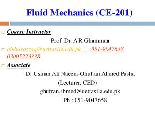 Fluid Mechanics (CE-201)