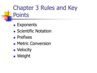 Chapter 3 Rules and Key Points