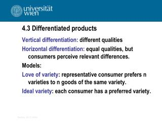 4.3  Differentiated products