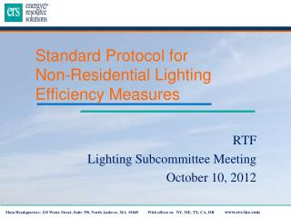 Standard Protocol for  Non-Residential Lighting Efficiency Measures