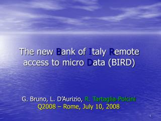 The new  B ank of  I taly  R emote  access to micro  D ata (BIRD)