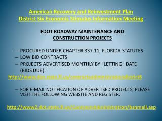 American Recovery and Reinvestment Plan   District Six Economic Stimulus Information Meeting