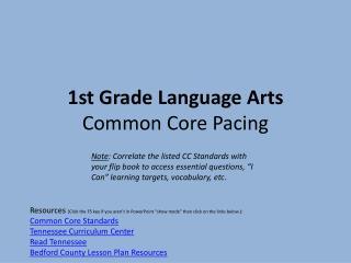 1st Grade Language  Arts Common Core  Pacing