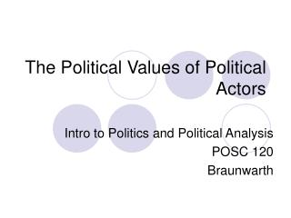 The Political Values of Political Actors