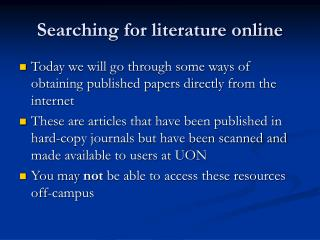Searching for literature online
