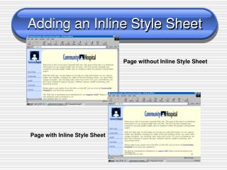 Adding an Inline Style Sheet