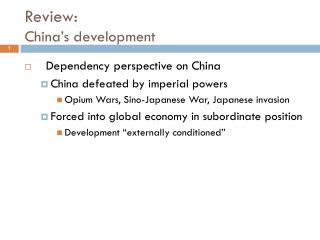 Review:  China�s development