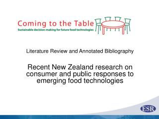 Literature Review and Annotated Bibliography Recent New Zealand research on consumer and public responses to emerging f