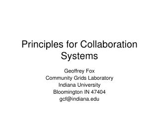 Principles for Collaboration Systems