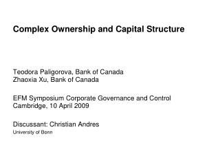 Complex Ownership and Capital Structure