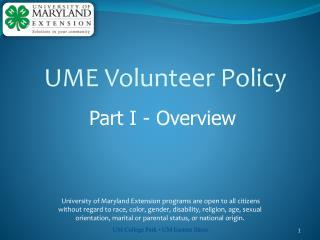 UME Volunteer Policy