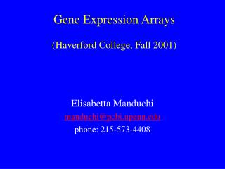 Gene Expression Arrays (Haverford College, Fall 2001)