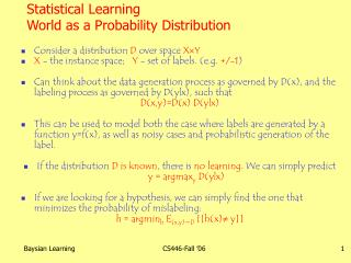 Statistical Learning World as a Probability Distribution
