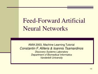 Feed-Forward Artificial Neural Networks