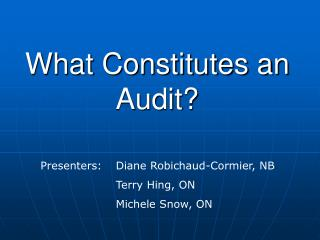 What Constitutes an Audit?