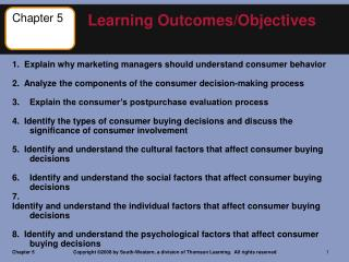 1.  Explain why marketing managers should understand consumer behavior 2.  Analyze the components of the consumer decis