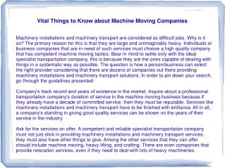 Vital Things to Know about Machine Moving Companies