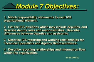 Module 7 Objectives: