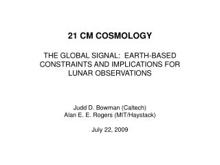 21 cm cosmology = The history of hydrogen gas