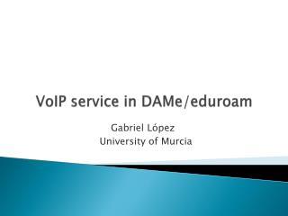 VoIP service  in DAMe/eduroam