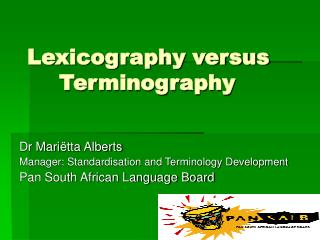 Lexicography versus   Terminography
